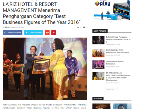 Best Business Figures of The Year 2016 dalam acara Indonesian Ministers Awards of Excellence 2016